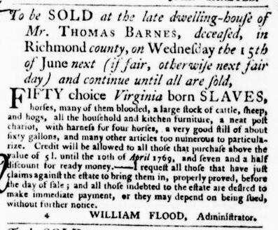 Jun 9 - Virginia Gazette Purdie and Dixon Slavery 3