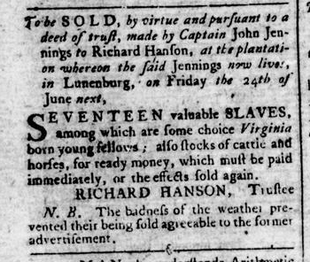 Jun 9 - Virginia Gazette Rind Slavery 1