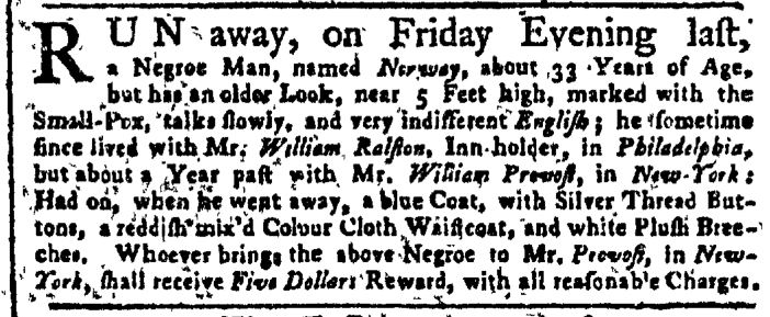Aug 1 - New-York Gazette Weekly Post-Boy Slavery 1