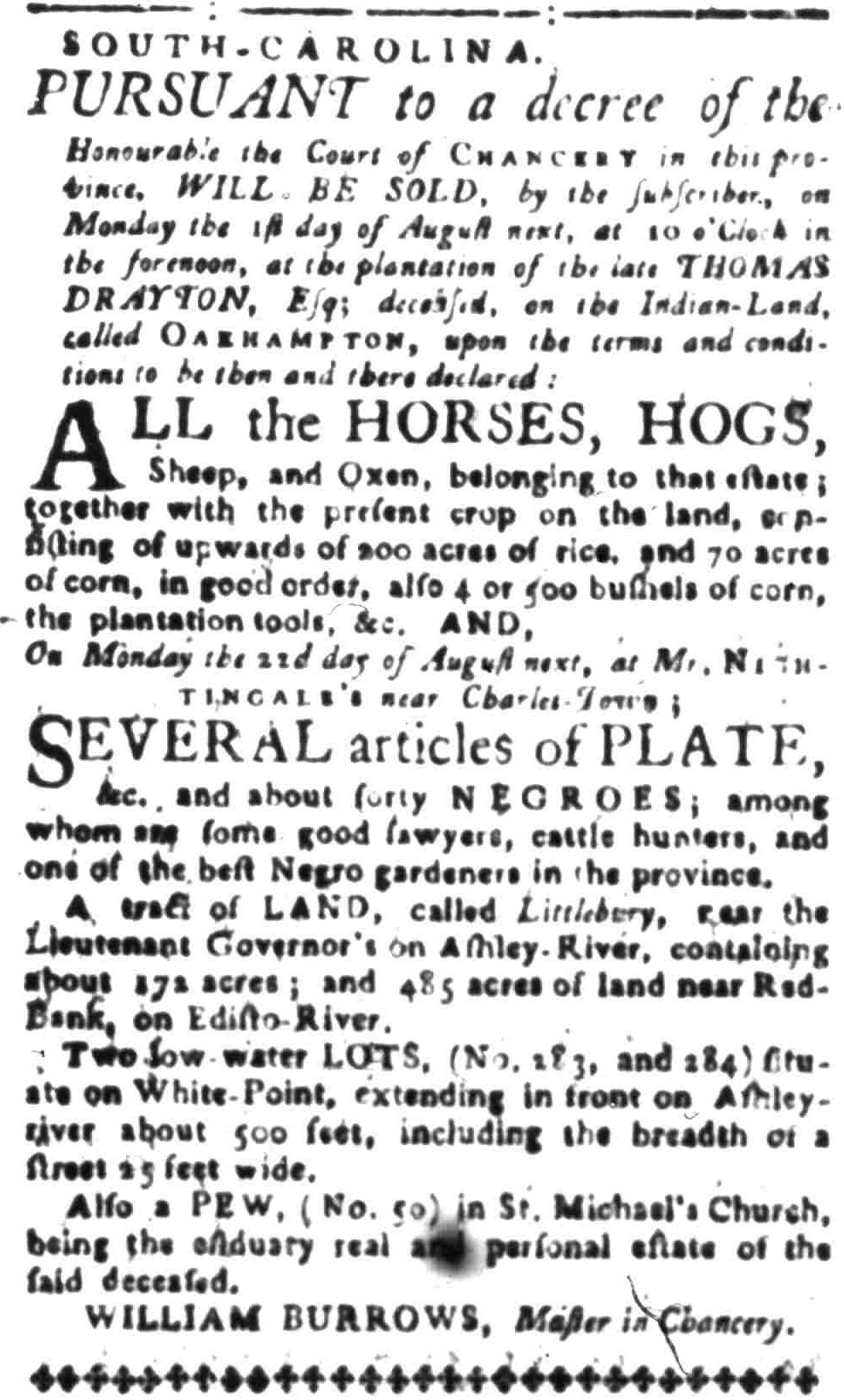Aug 1 - South-Carolina Gazette Slavery 4