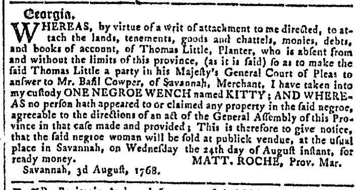 Aug 10 - Georgia Gazette Slavery 11