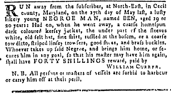 Aug 11 - Pennsylvania Gazette Slavery 1