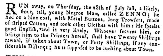 Aug 11 - Pennsylvania Gazette Supplement Slavery 1