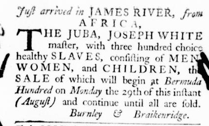 Aug 11 - Virginia Gazette Purdie and Dixon Slavery 1