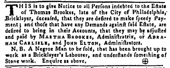 Aug 4 - Pennsylvania Gazette Slavery 1