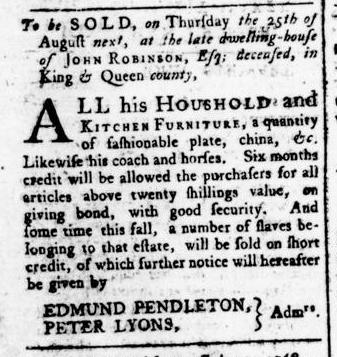 Aug 4 - Virginia Gazette Rind Slavery 8