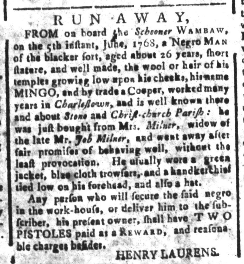 Aug 5 - South-Carolina and American General Gazette Slavery 12