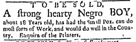 Aug 8 - Boston Evening-Post Supplement Slavery 1
