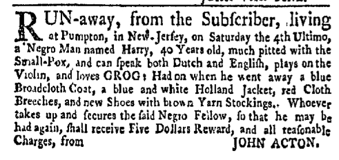 Aug 8 - New-York Gazette Weekly Mercury Slavery 4