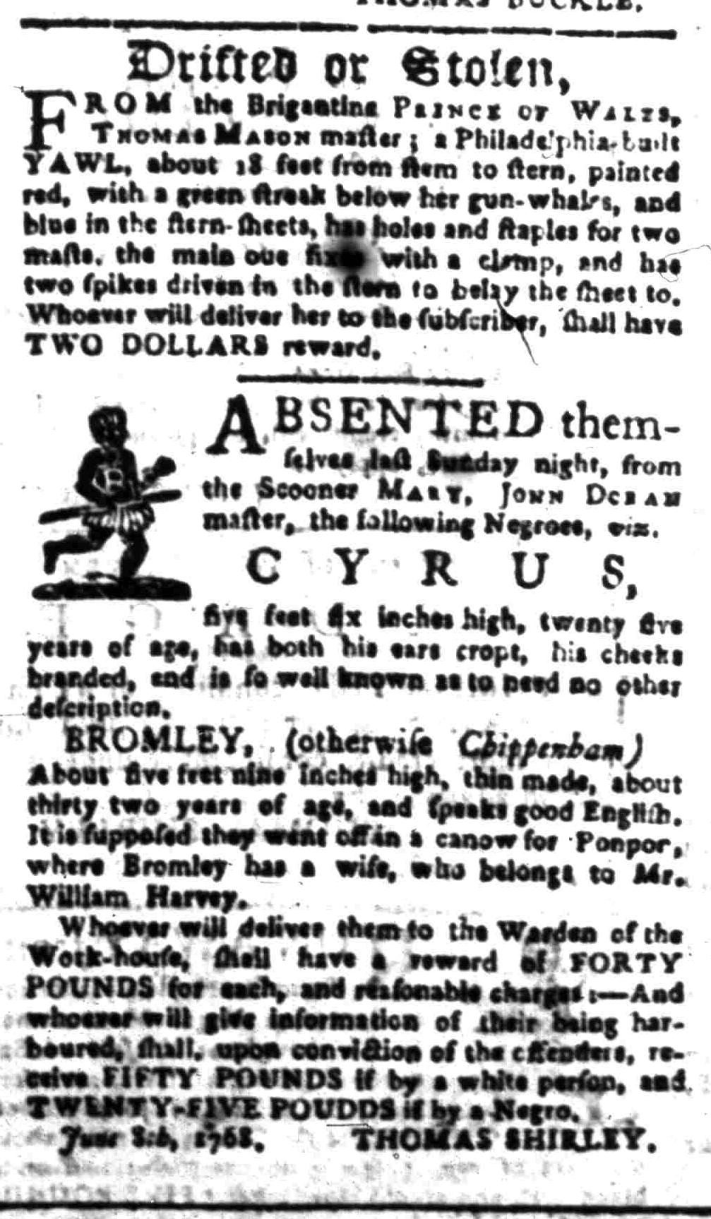 Aug 8 - South-Carolina Gazette Slavery 11