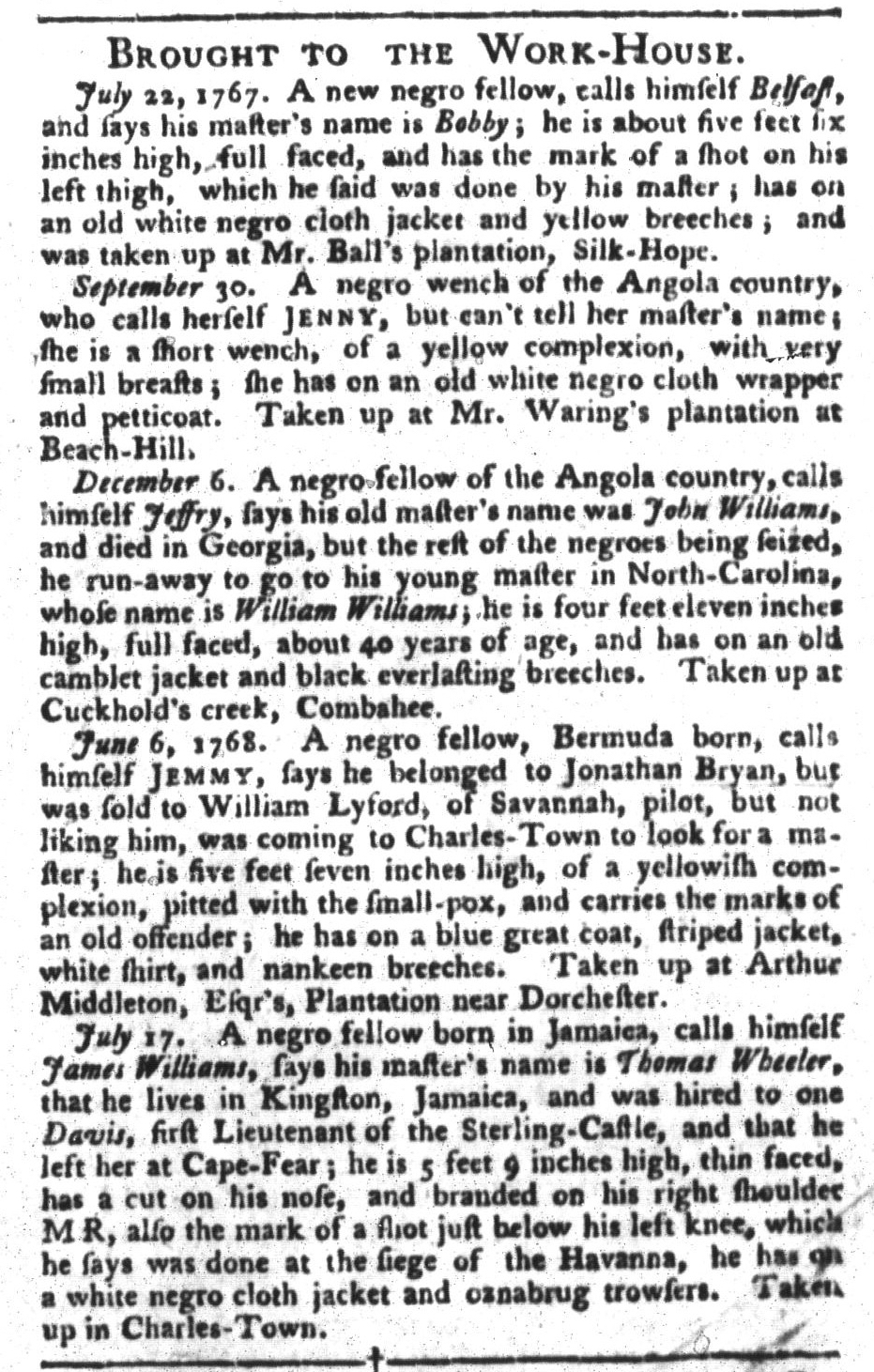 Aug 9 - South-Carolina Gazette and Country Journal Supplement Slavery 1