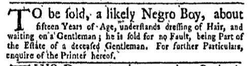Jul 18 - New-York Gazette Weekly Mercury Slavery 1