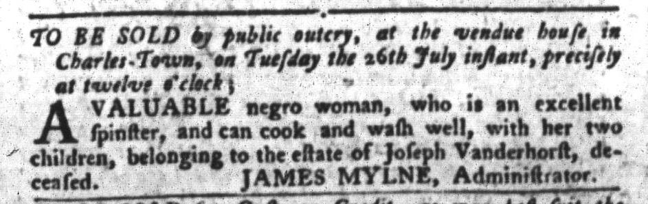Jul 19 - South-Carolina Gazette and Country Journal Slavery 1