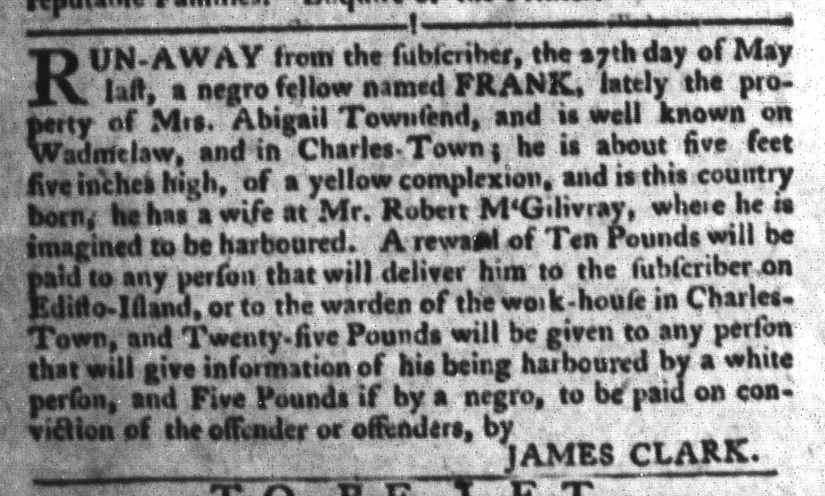 Jul 19 - South-Carolina Gazette and Country Journal Slavery 8
