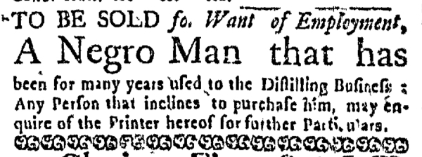 Jul 21 - Boston Weekly News-Letter Slavery 1