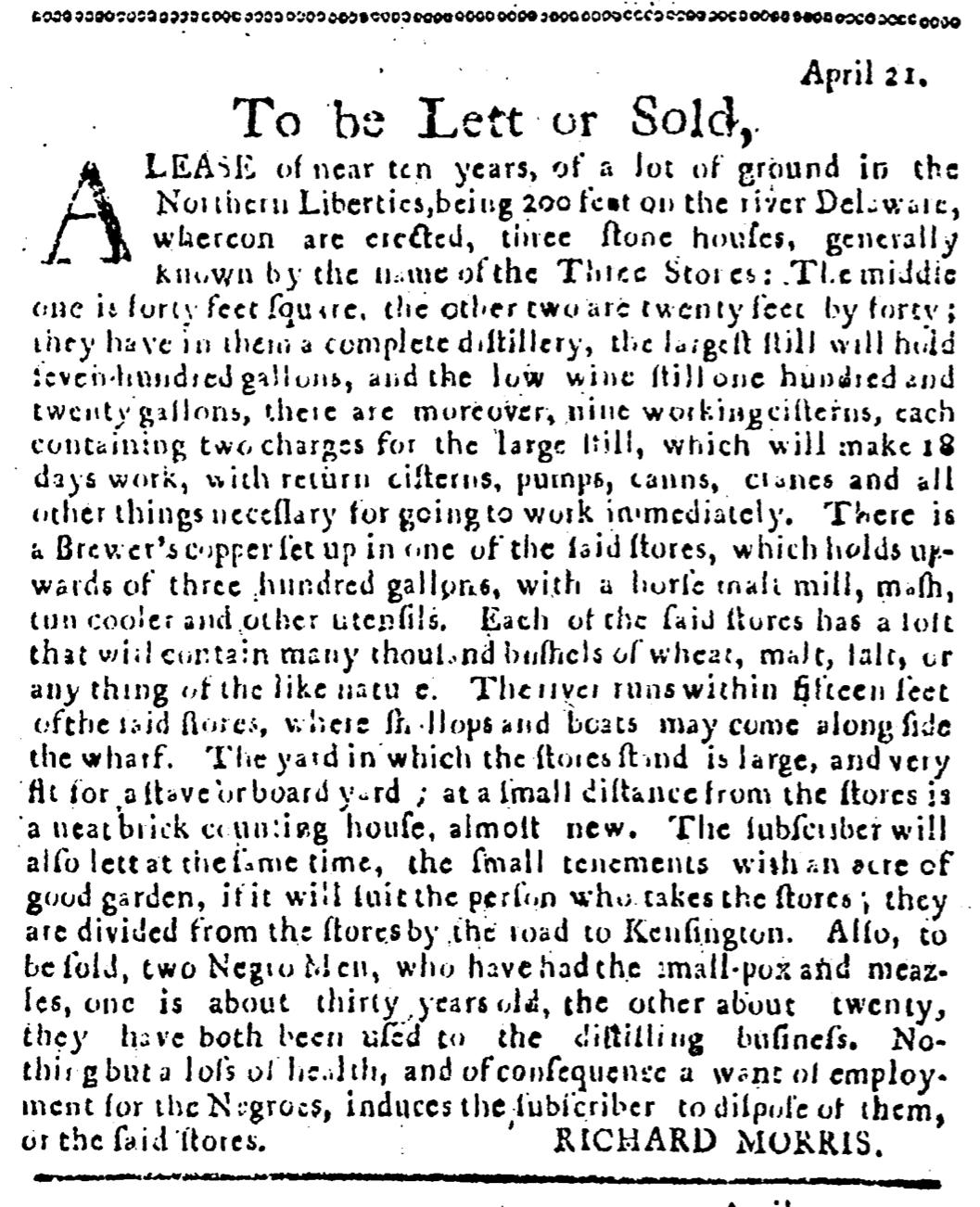 Jul 21 - Pennsylvania Journal Supplement Slavery 1