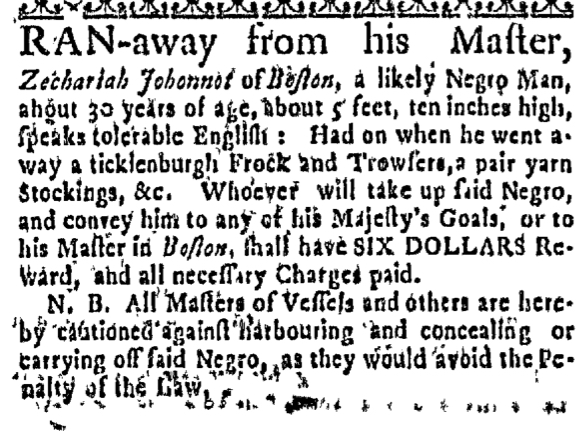 Jul 28 - Massachusetts Gazette Draper Slavery 1