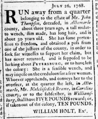 Jul 28 - Virginia Gazette Rind Slavery 4