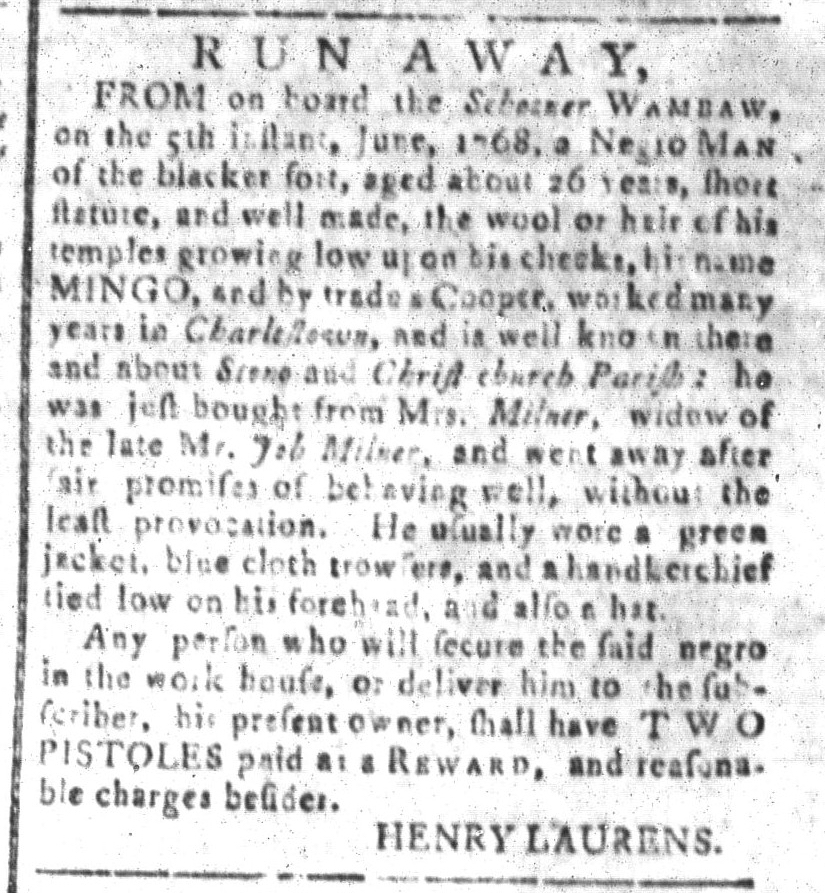 Jul 29 - South Carolina and American General Gazette Slavery 12