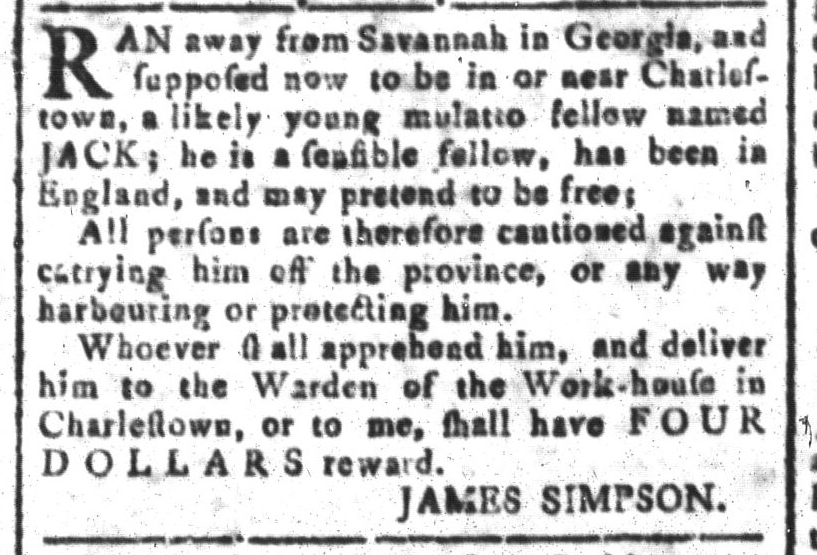 Jul 29 - South Carolina and American General Gazette Slavery 3