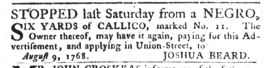 Aug 16 - South-Carolina Gazette and Country Journal Slavery 5