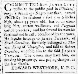 Aug 18 - Virginia Gazette Rind Slavery 3