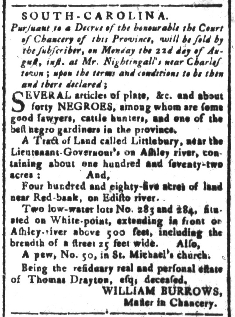 Aug 19 - South-Carolina and American General Gazette Slavery 1