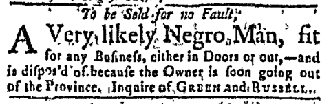 Aug 22 - Massachusetts Gazette Green and Russell Slavery 1