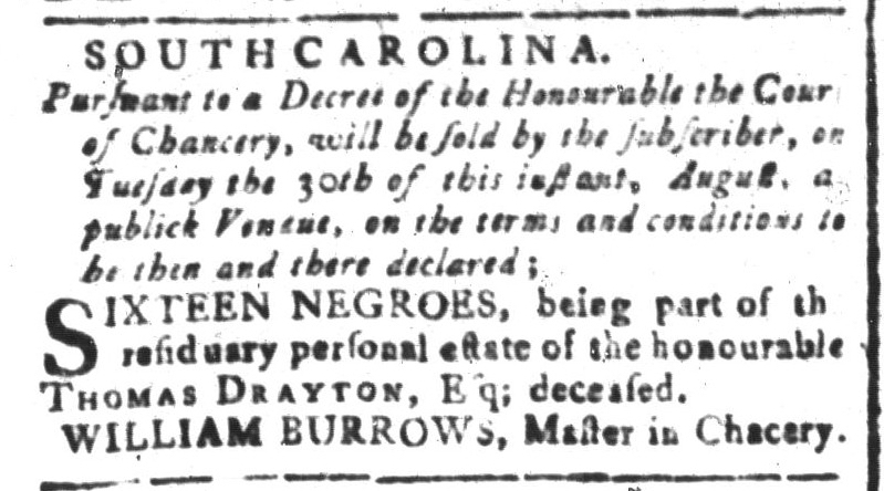 Aug 26 - South-Carolina and American General Gazette Slavery 1
