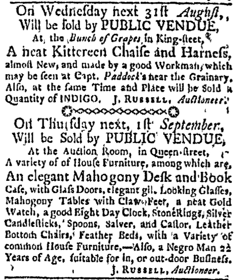 Aug 29 - Boston Evening-Post Slavery 1