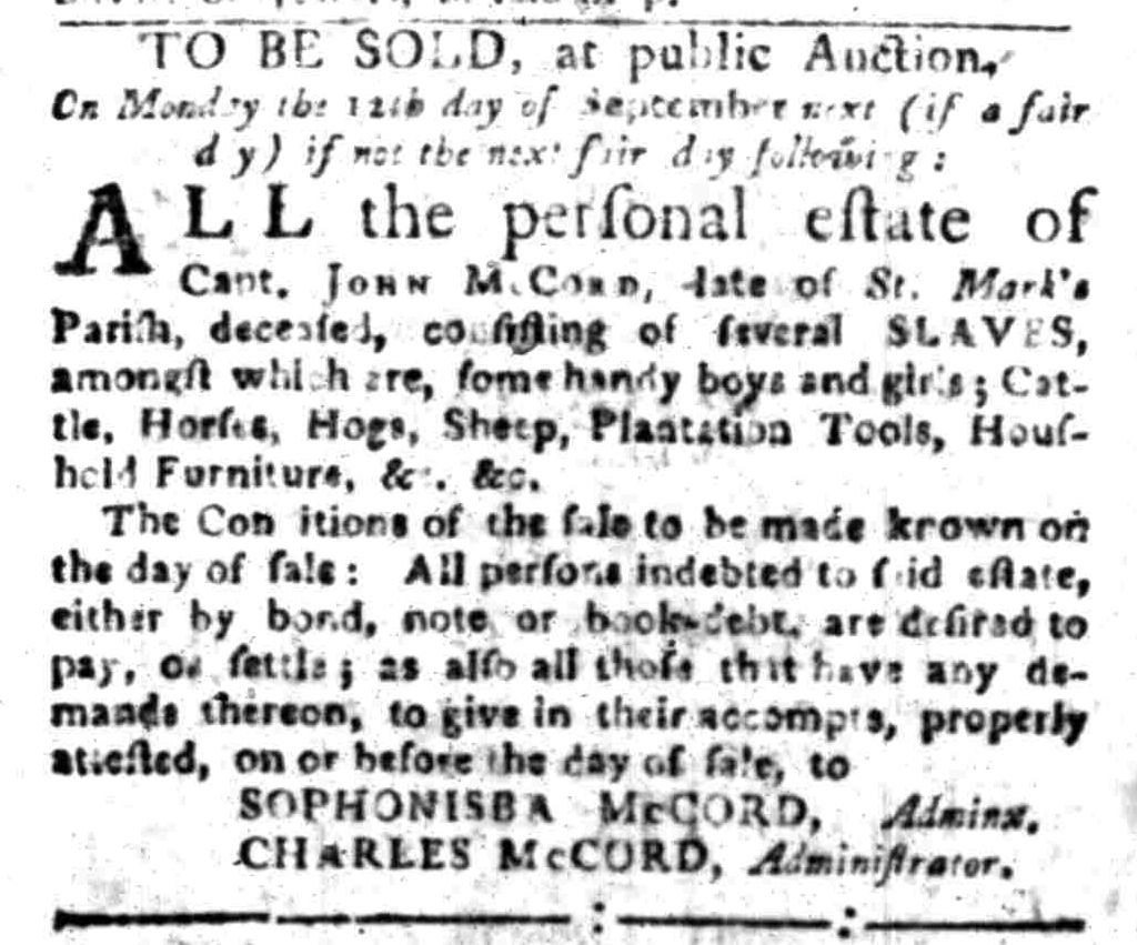 Aug 29 - South-Carolina Gazette Slavery 1