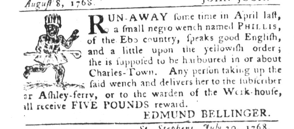 Aug 30 - South-Carolina Gazette and Country Journal Supplement Slavery 1