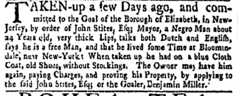 Oct 3 - New-York Gazette Weekly Mercury Slavery 1