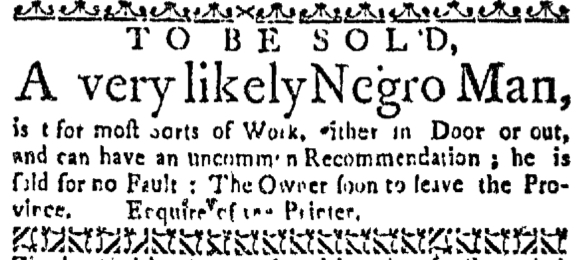 Sep 1 - Boston Weekly News-Letter Slavery 2