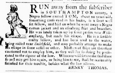 Sep 1 - Virginia Gazette Purdie and Dixon Slavery 2