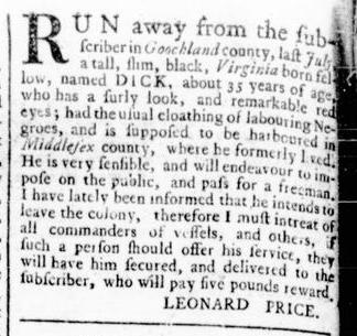Sep 1 - Virginia Gazette Rind Slavery 9