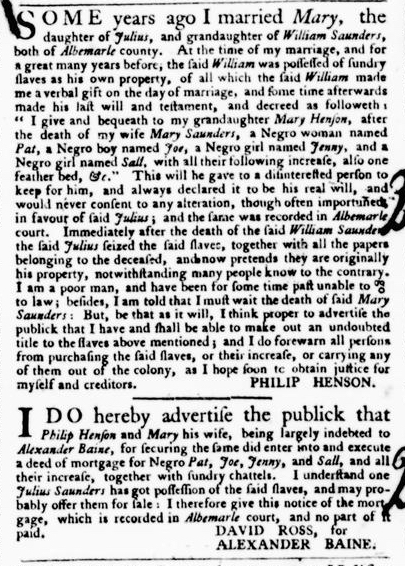 Sep 15 - Virginia Gazette Purdie and Dixon Slavery 4