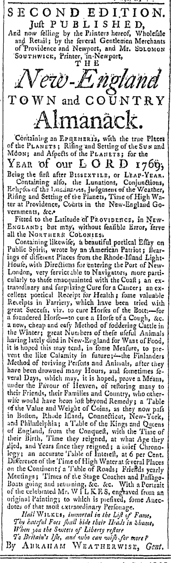 Sep 17 - 9:17:1768 Providence Gazette