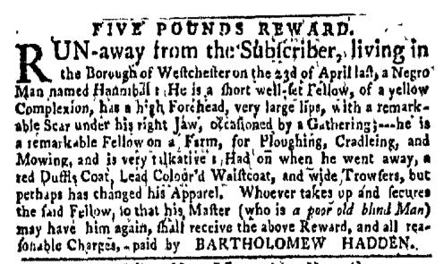 Sep 19 - New-York Gazette Weekly Mercury Slavery 1