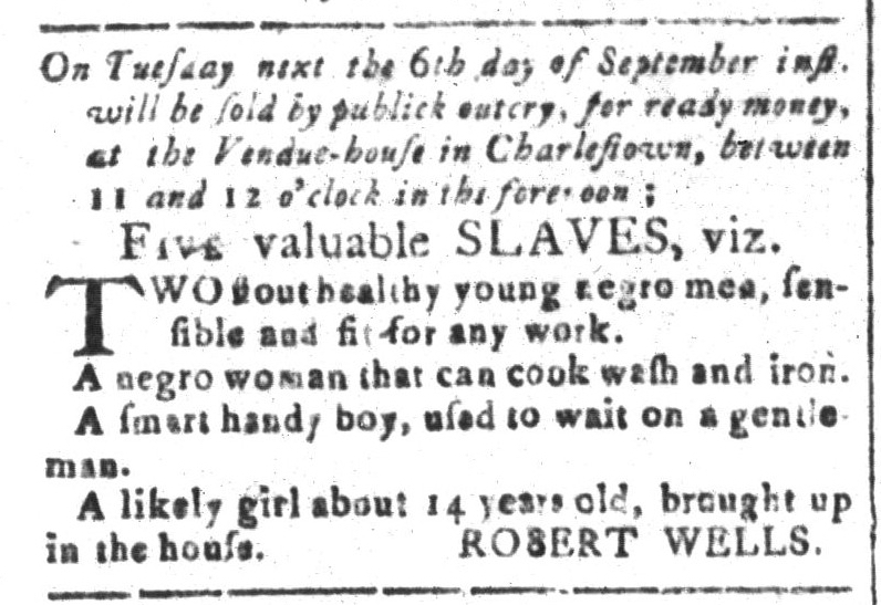Sep 2 - South-Carolina and American General Gazette Slavery 1