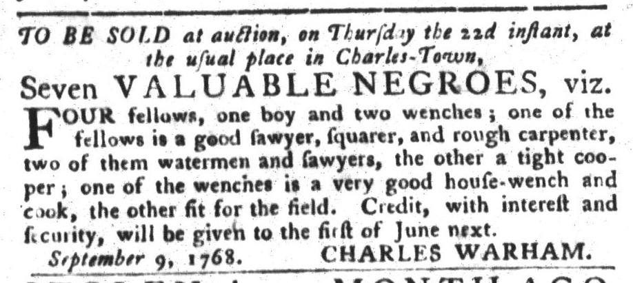 Sep 20 - South-Carolina Gazette and Country Journal Slavery 5