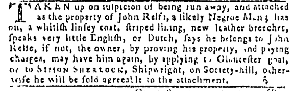 Sep 22 - Pennsylvania Gazette Slavery 1
