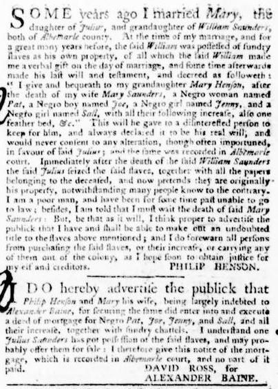 Sep 22 - Virginia Gazette Purdie and Dixon Slavery 7