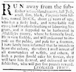 Sep 22 - Virginia Gazette Rind Slavery 15