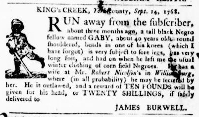 Sep 29 - Virginia Gazette Purdie and Dixon Slavery 10