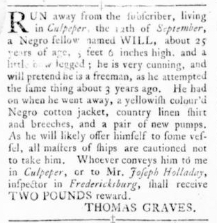 Sep 29 - Virginia Gazette Rind Slavery 1
