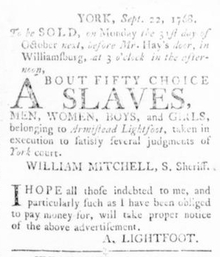 Sep 29 - Virginia Gazette Rind Slavery 3