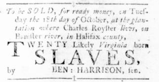 Sep 29 - Virginia Gazette Rind Slavery 4