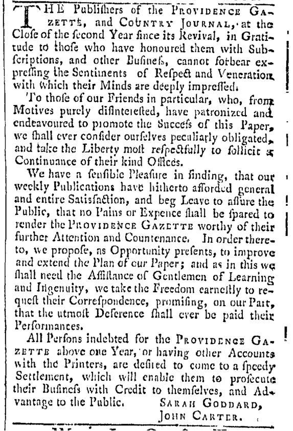 Sep 3 - 9:3:1768 Providence Gazette