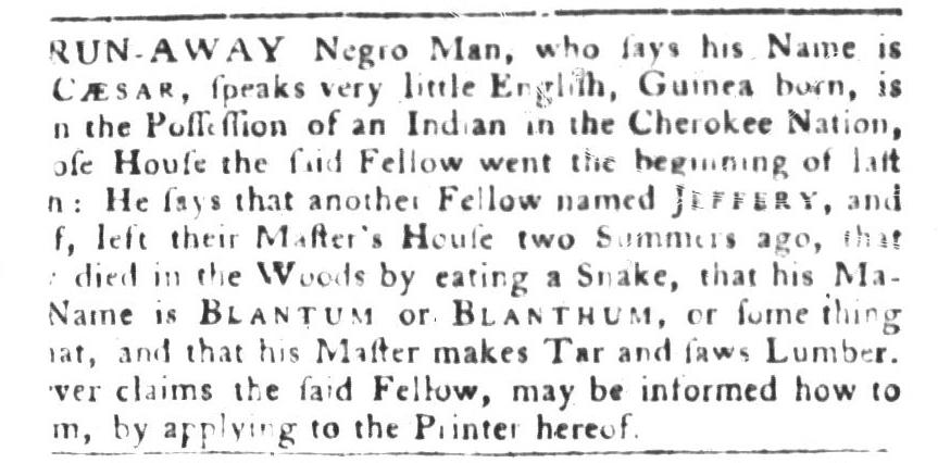 Sep 6 - South-Carolina Gazette and Country Journal Slavery 1